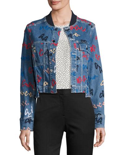 Paneled Denim Jacket w/ Scribble Embroidery