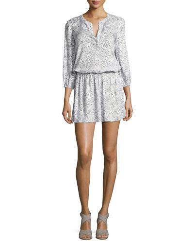 Capriana Blouson Mini Dress, White
