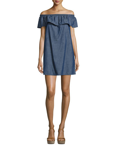 Nilima Off-The-Shoulder Chambray Dress, Blue