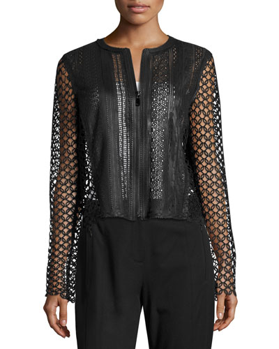 Gavin Lace-Trim Leather Jacket