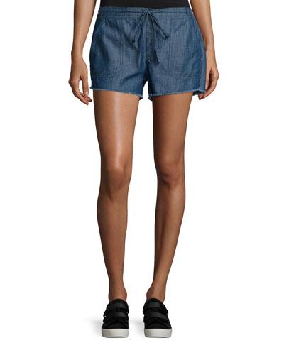 Kalpana Chambray Drawstring Shorts, Blue