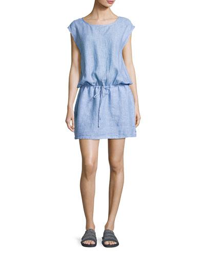 Lianna Linen Dress, Blue