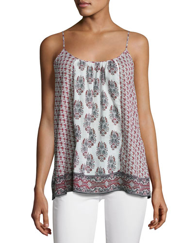 Sparkle C Floral-Print Tank Top, White/Red