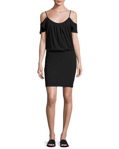 Tahlia Cold-Shoulder Jersey Mini Dress, Black