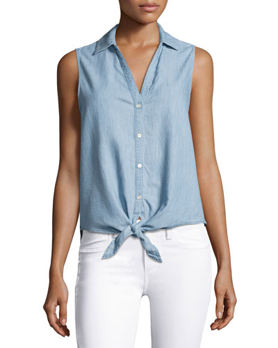 Creta Sleeveless Tie-Front Chambray Shirt, Blue