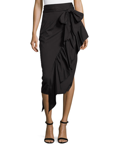 Cascading Ruffle Stretch-Poplin Midi Skirt, Black
