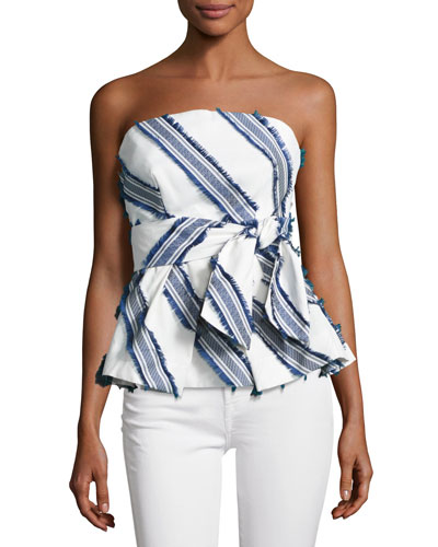 Kylie Diagonal-Striped Off-the-Shoulder Top, Navy