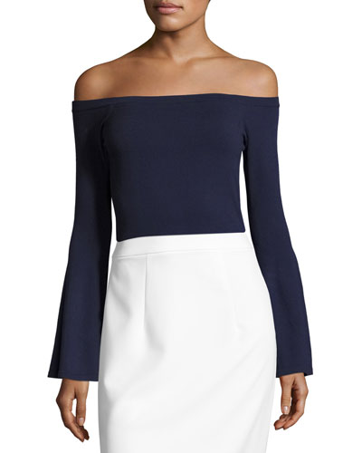 Selena Off-the-Shoulder Bell-Sleeve Knit Top, Navy