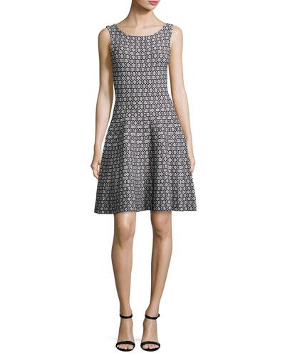 Sleeveless Geometric Jacquard Knit Fit-&-Flare Dress