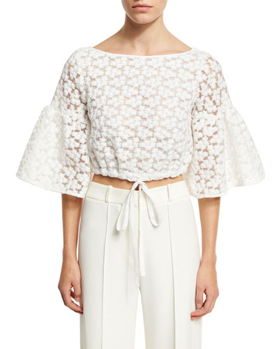Lydia Floral-Embroidered Lace Crop Top, White
