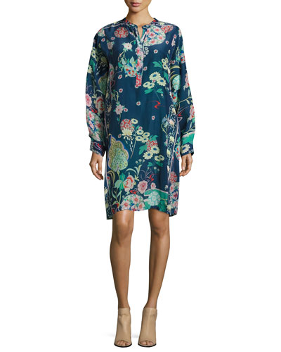 Ellyonora Half-Placket Floral-Print Dress