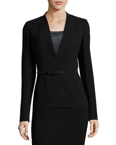 Anya Finesse-Crepe One-Button Blazer Jacket, Black