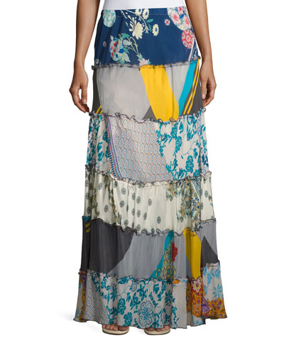 Mixed Prints Tiered Long Skirt