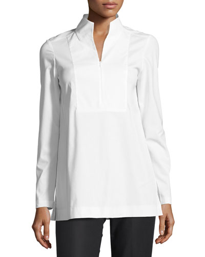 Marco Stretch-Cotton Blouse w/ Jersey Sleeves, White