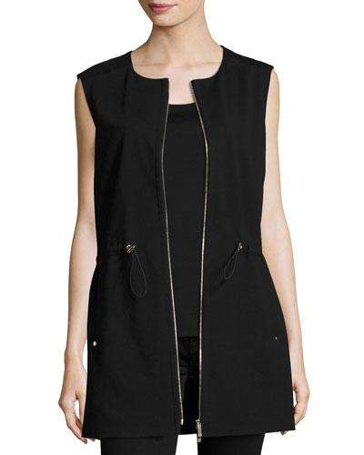 Punto Milano Zip-Front Vest, Black