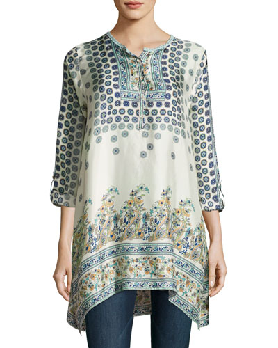 Simon Handkerchief-Hem Printed Silk Tunic, Multi, Plus Size