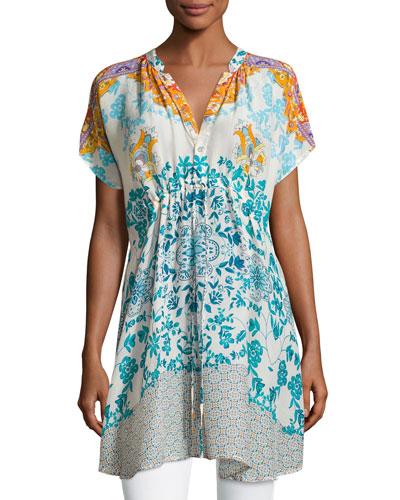 Morning Dew Short-Sleeve Drawstring Printed Tunic, Plus Size