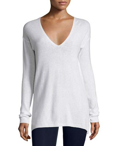 Agnia Cashmere V-Neck Sweater, White