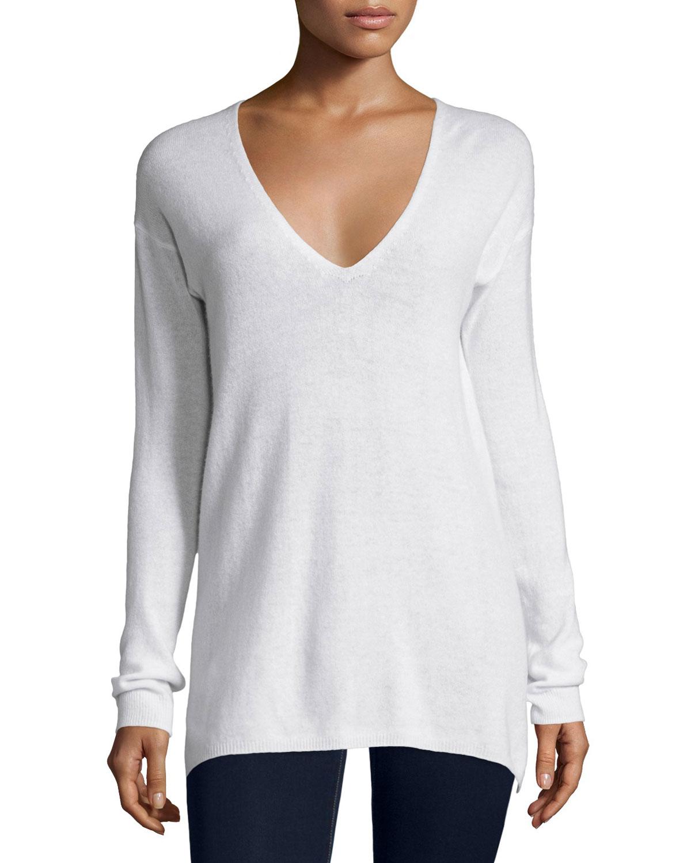 Agnia Cashmere V-Neck Sweater, White