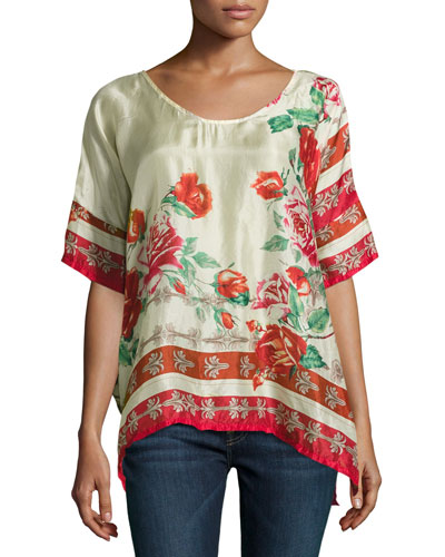Secret Garden Floral Silk Georgette Top, Red Pattern, Plus Size