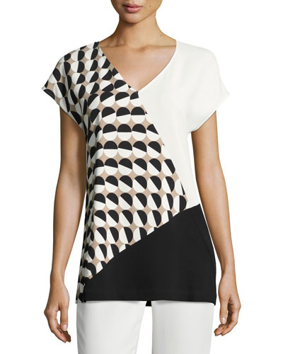 Charlize Short-Sleeve Divided Dots Combo Blouse, Multi