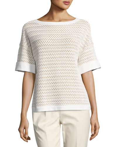 Haven Short-Sleeve Relaxed Woven Top, Multi