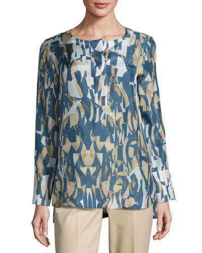 Katerine Long-Sleeve Laguna Tide Silk Blouse, Multi