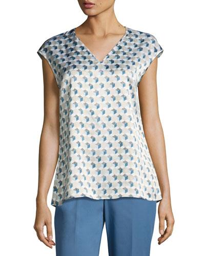 Bryson Cap-Sleeve Havana Hexagon-Print Silk Blouse, Multi