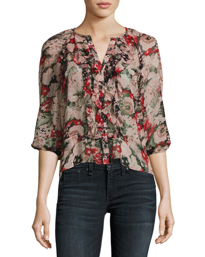 Aldona Floral-Print Ruffle Top, Black