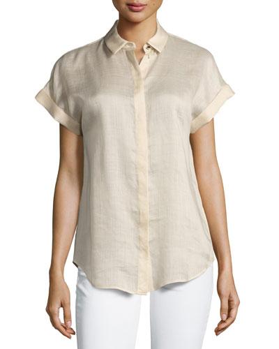 Gemma Short-Sleeve Button-Front Blouse, Gold