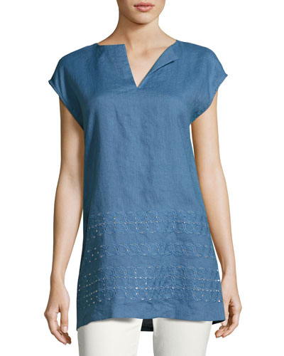 Summer Short-Sleeve Embroidered Linen Blouse, Medium Blue