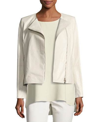 Christa Grain-Embossed Lambskin Moto Jacket, Light Beige