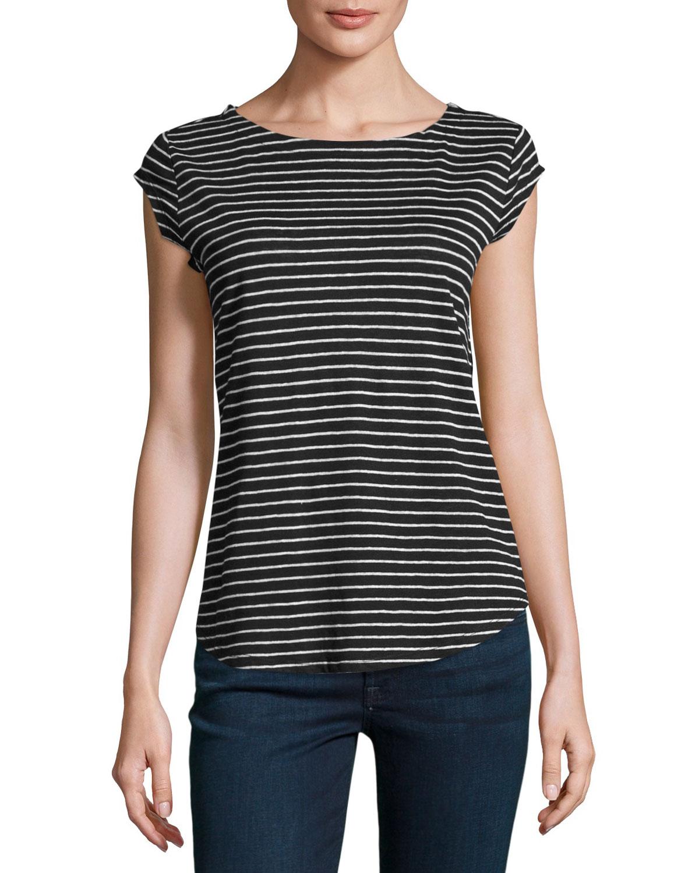 Adelise Striped Cap-Sleeve Linen T-Shirt, Black