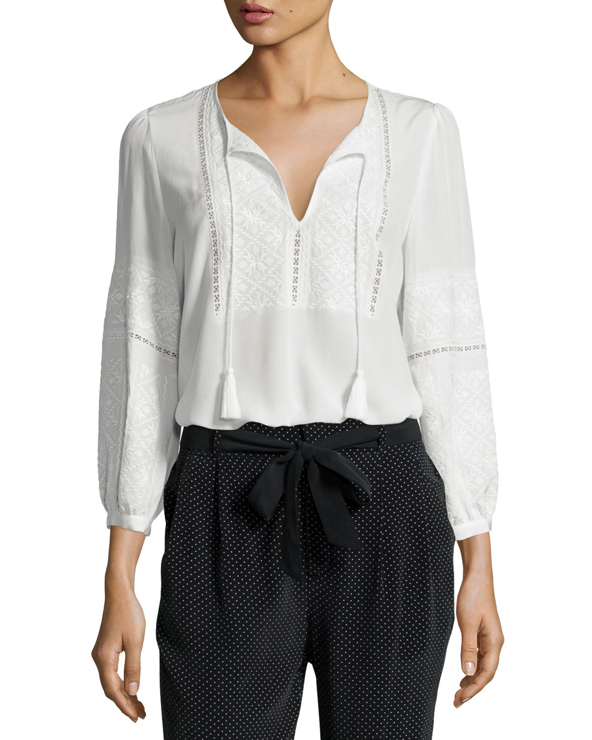 Mei Embroidered Silk Peasant Top, White