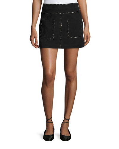 Guadeloupe Studded Suede A-Line Mini Skirt, Black