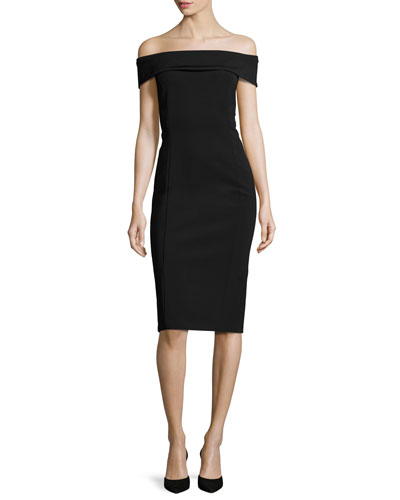 Maquette Off-the-Shoulder Jersey Sheath Dress, Black