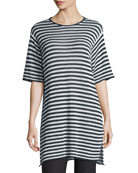 Half-Sleeve Striped Organic-Linen Sweater, Graphite/White