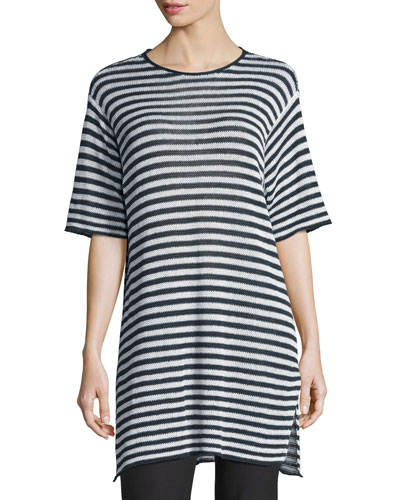 Half-Sleeve Striped Organic-Linen Sweater, Graphite/White, Plus Size