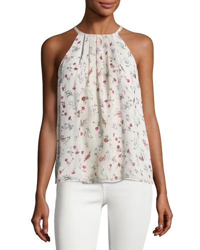 Hawn Sleeveless Floral-Print Silk Top