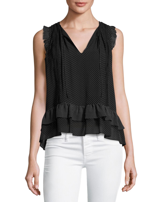 Cici Dot-Print Sleeveless Ruffle Top, Black