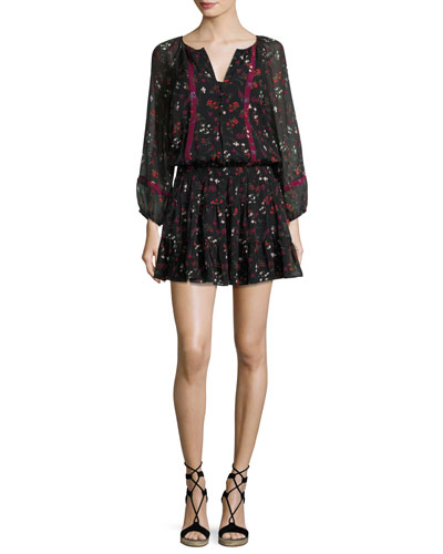 Grover Floral-Print Silk Blouson Mini Dress, Black