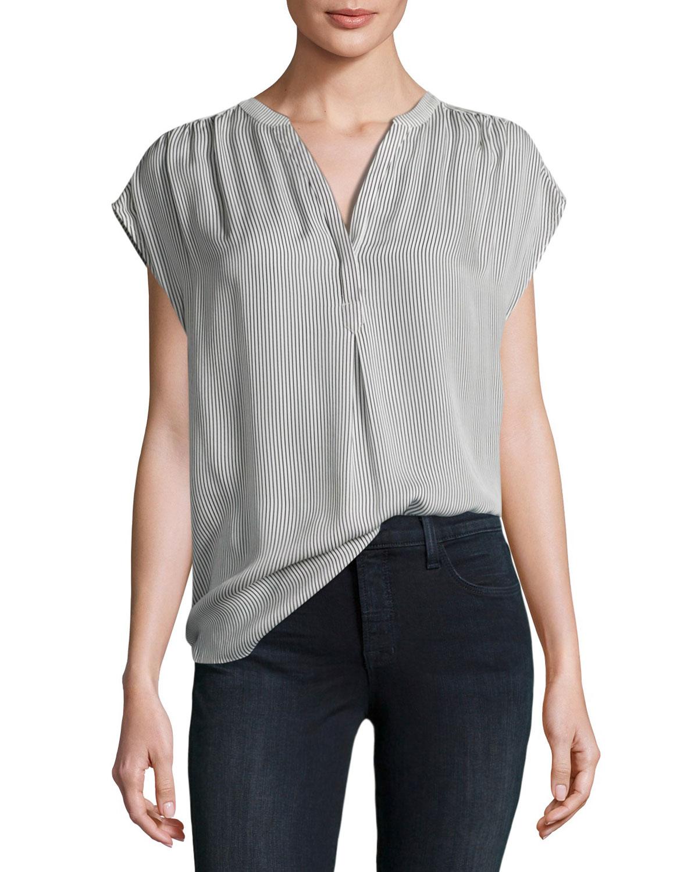 Doshia Cap-Sleeve Striped Silk Shirt, Gray