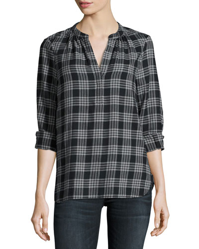 Hesta Plaid Cotton Shirt, Black Pattern