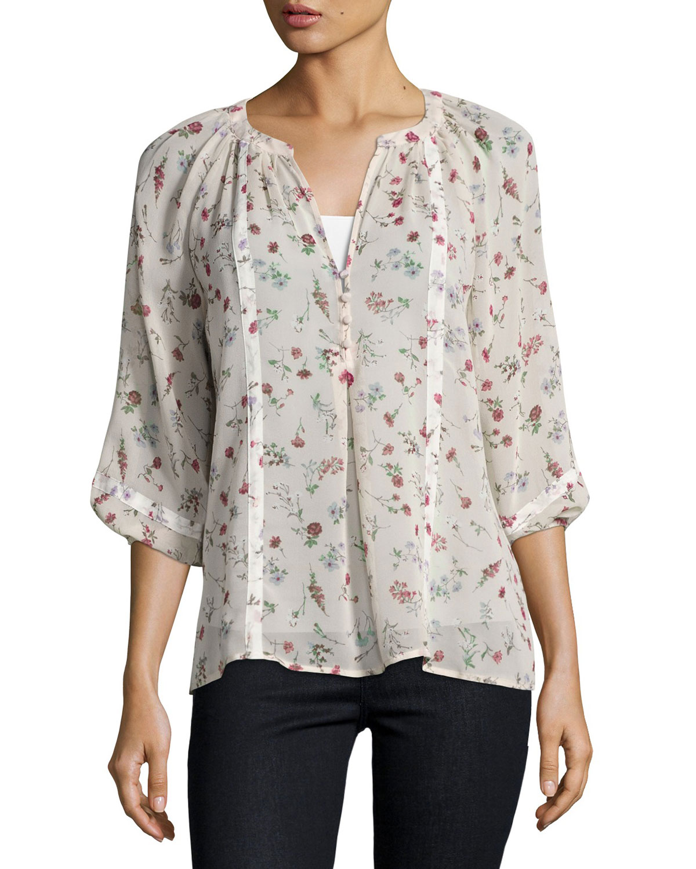 Gloria B Floral Silk Blouse, Pink/White