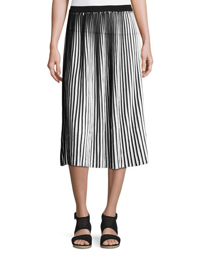 Striped Cotton Crepe Plisse Skirt, Black/White