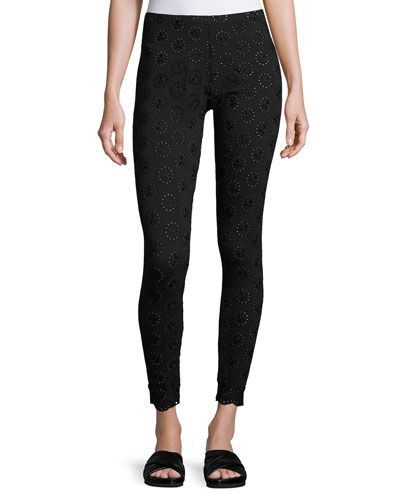 Stretch Eyelet Leggings, Plus Size