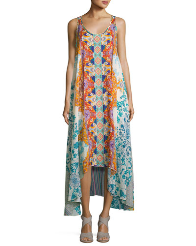 Ellyo Printed Georgette Tank Dress, Multi