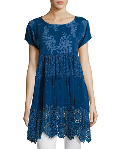 Arva Short-Sleeve Tiered Georgette Tunic, Blue