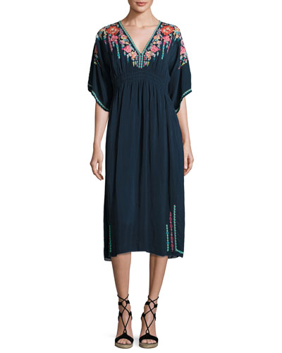 Margaret Short-Sleeve Embroidered Kimono Dress