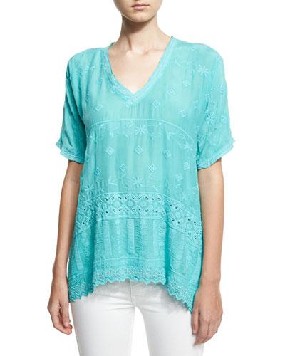 Nyloni Short-Sleeve Top, Plus Size
